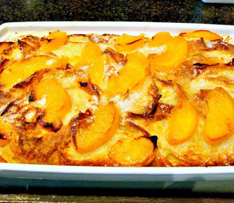 Peach Croissant Bread Pudding, baked