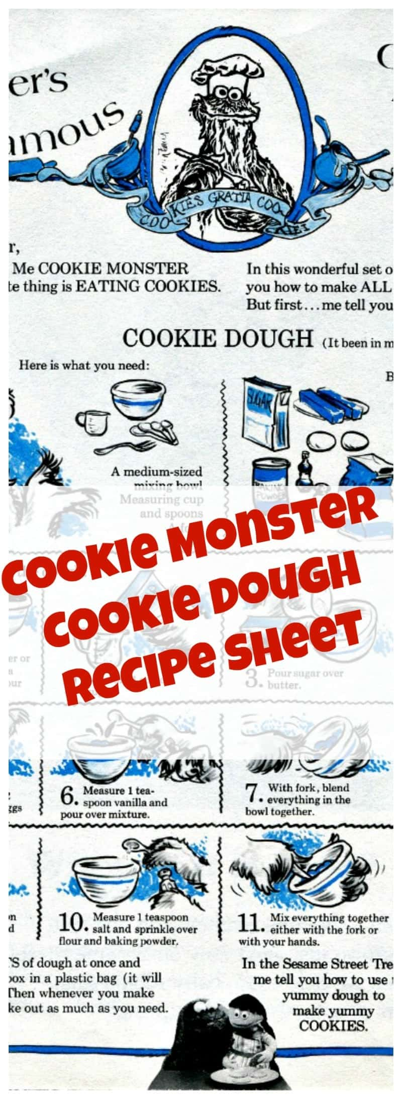 Famous Cookie Monster Cookie Dough Recipe. Please go to the recipe to print the cookie sheet and get full recipe and instructions.