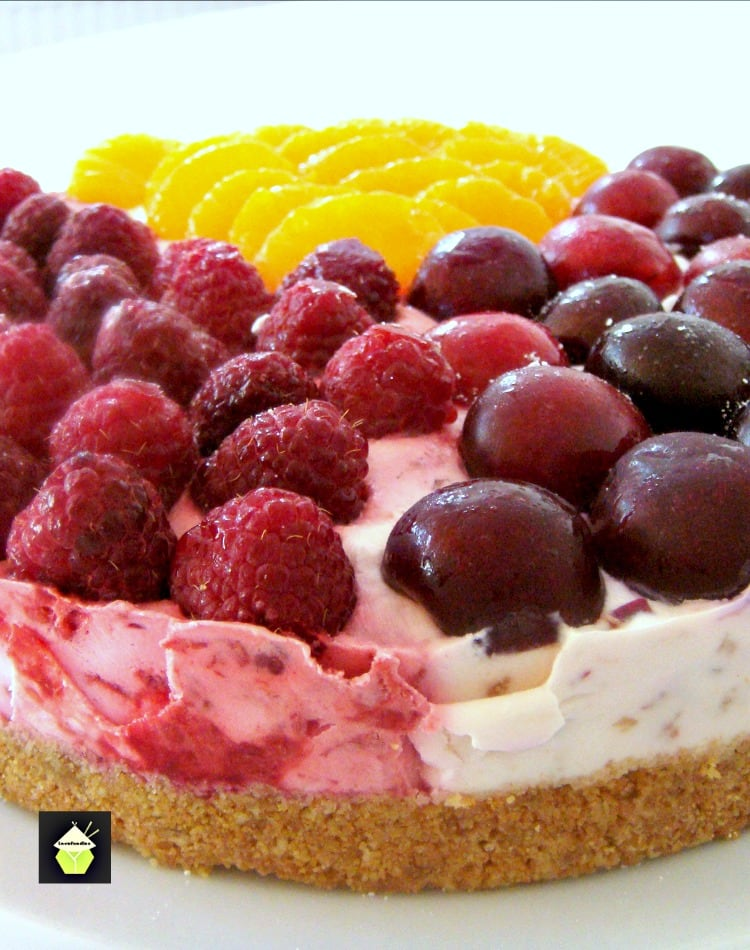 3 in 1 NO BAKE Cheesecake. A delicious dessert using 3 different flavors to please everyone! Really easy recipe and great for parties.   Lovefoodies.com