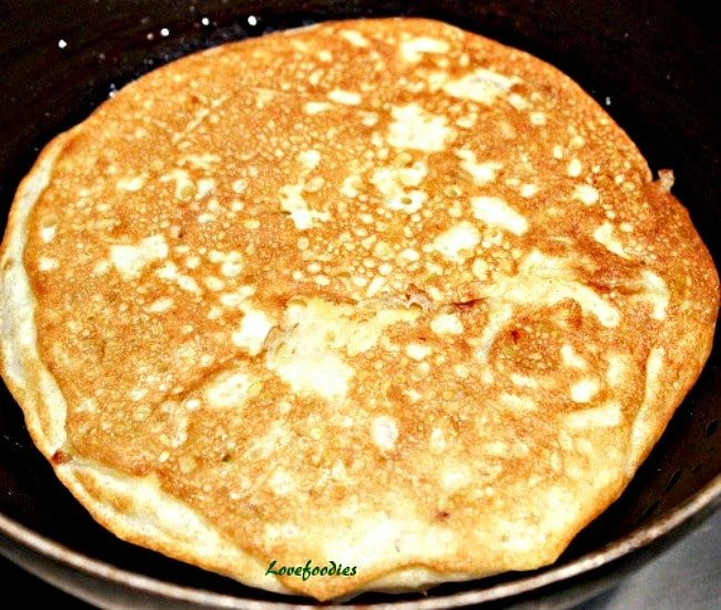 Fluffy Apple Pancakes, cooking in pan