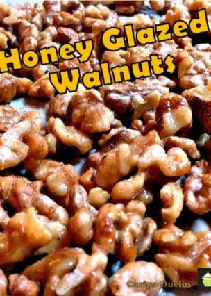 Honey Glazed Walnuts. A very simple and flexible recipe allowing you to choose your nuts and seasonings to suit! Only takes a few minutes to make too!