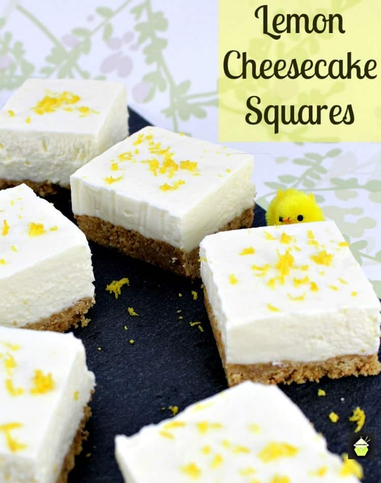 Lemon Cheesecake Squares. Simple recipe, no baking with a refreshing lemon flavor. Prep in under 10 minutes for a delicious dessert. Perfect for Easter and Summertime