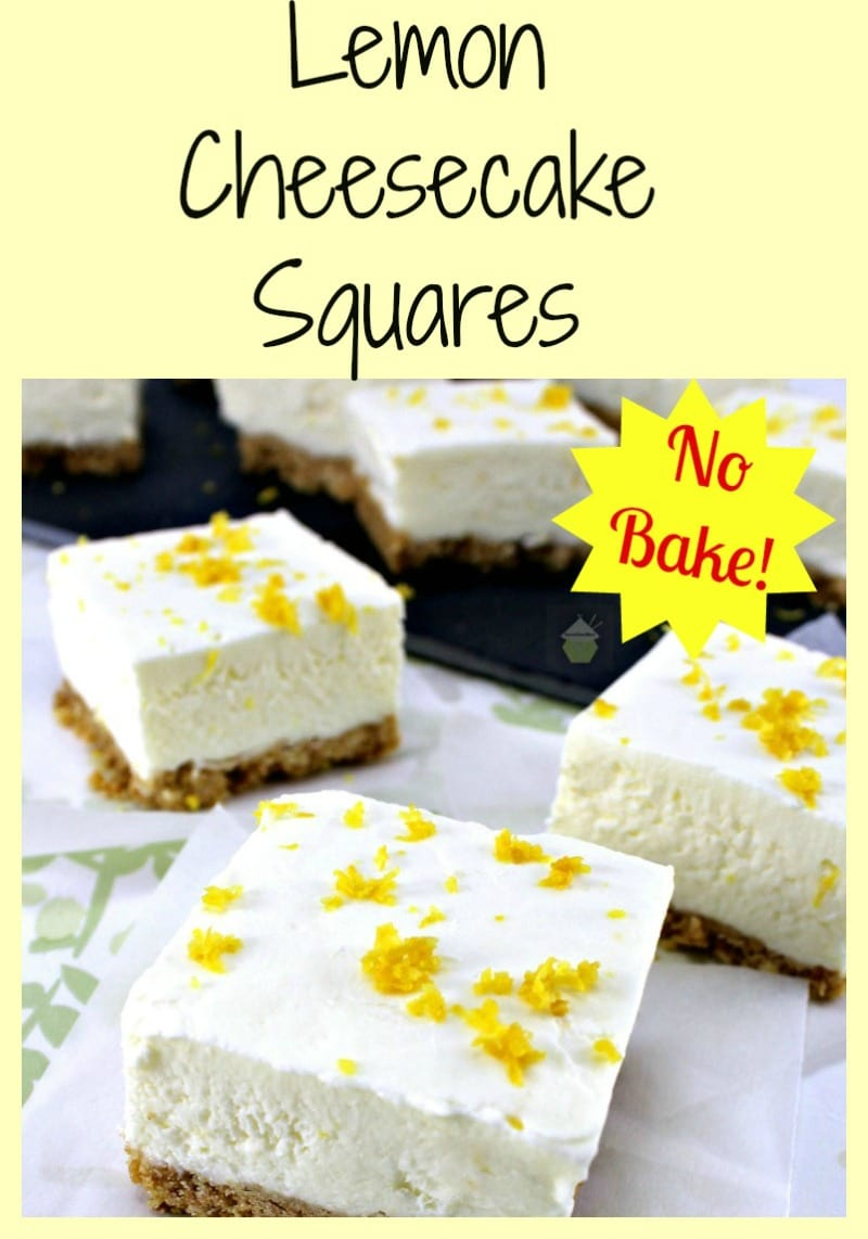 Lemon Cheesecake Squares. A very easy, no bake recipe with a wonderful lemon flavor.