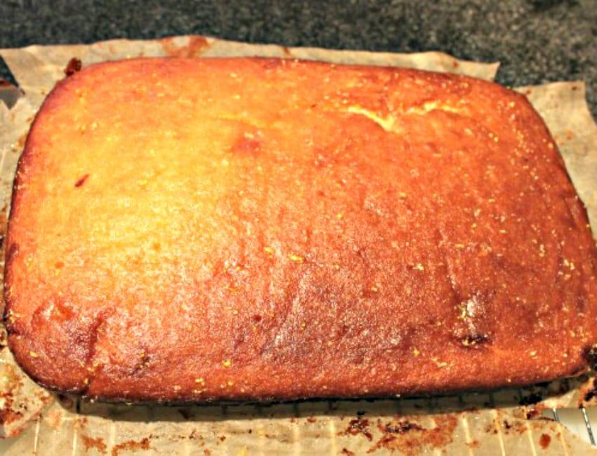 Lemon Drizzle Raspberry Ripple Cake, fresh from the oven