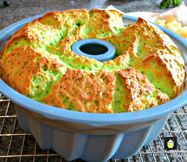 Pandan Chiffon Cake showing cake after baking immediately from the oven