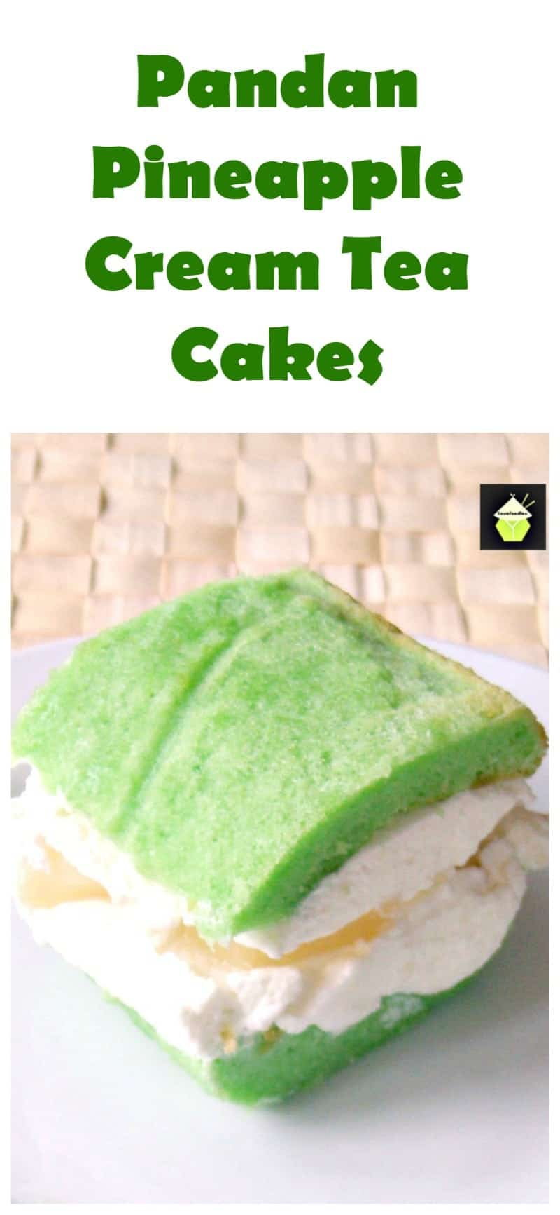Pandan Pineapple Cream Tea Cakes. These are a lovely soft chiffon cake filled with fresh whipped cream and pineapple pieces. Always perfect for a tea party! You can also swap the Pandan for any flavor you like!