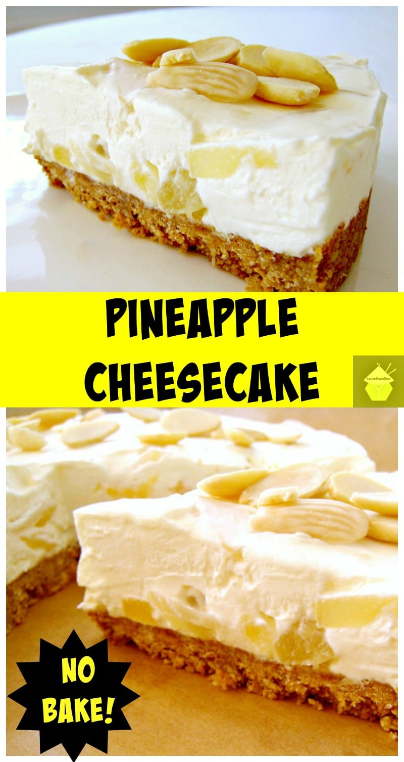 Here's a simple yet delicious cheesecake bursting with juicy pineapple in the filling. It's a really refreshing cheesecake, and even better, it's No Bake and incredibly easy to make!