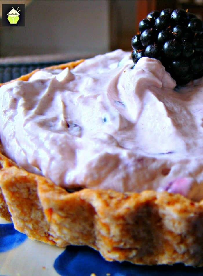 Quick & Creamy Blackberry Pie. An easy dessert using fresh ingredients with a filling as fluffy as a feather!