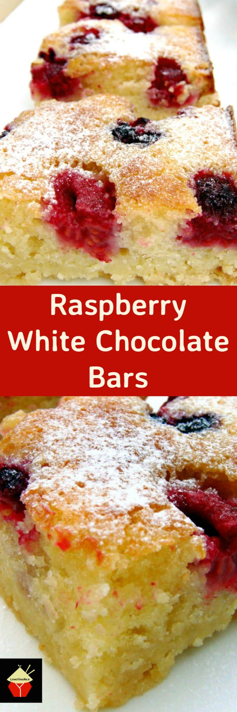 Raspberry and White Chocolate Bars. A delicious and easy recipe, perfect with a nice cup of tea! | Lovefoodies.com