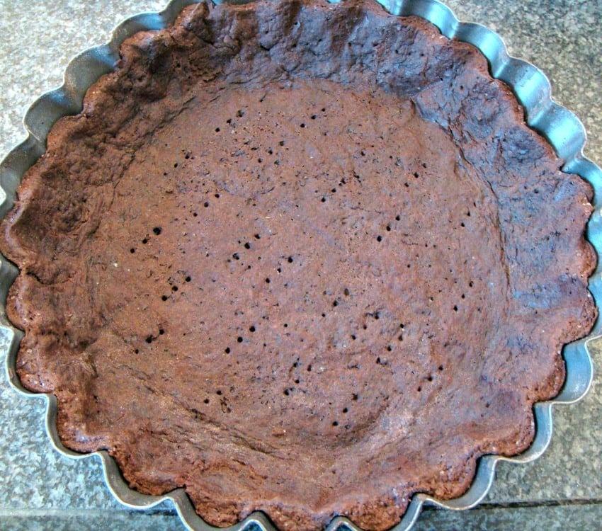 Irish Cream Pie, baked chocolate pastry case