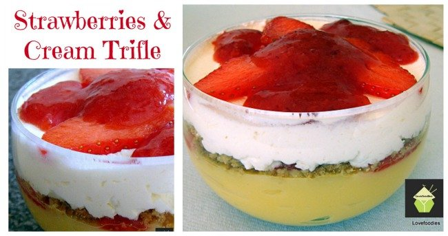 Strawberries and Cream Trifle. Easy Peasy Chilled Dessert, make a big one or individual bowls. OH YUM!