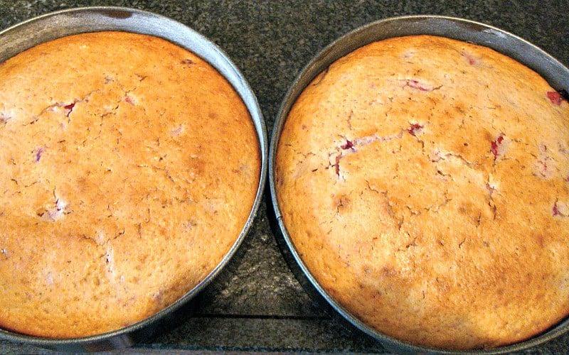 Strawberry Yogurt Cake, showing baked in the pan
