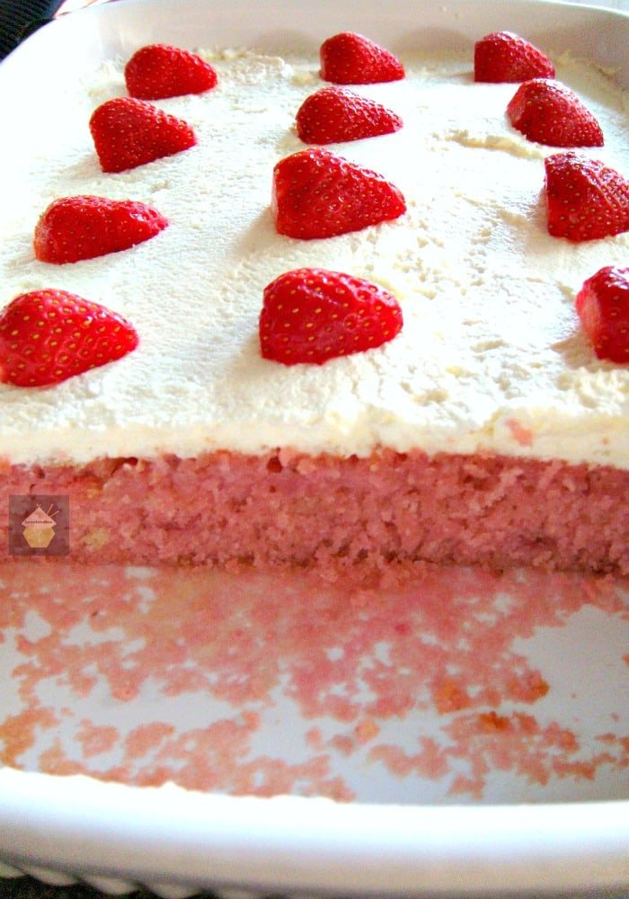 Strawberry & Coconut Cake (Poke Cake) with Fresh Whipped Cream. Easy made from scratch recipe. Yummy! #strawberry #poke cake #partycake #birthdays #coconut
