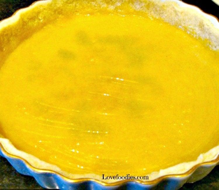Lemon Frangipane showing pastry case with lemon curd