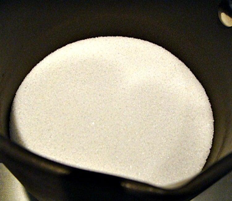 Creme Caramel Custard, Flan showing sugar in the pan