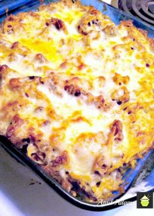 Garlic Pasta Bake with Sweet Italian Sausage is an easy recipe with fantastic flavors