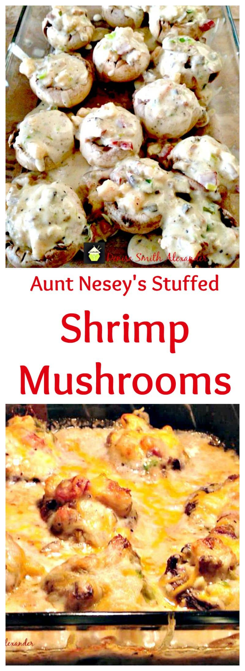 Aunt Nesey's Stuffed Shrimp Mushrooms, stuffed with shrimp and sausage in a creamy cheese sauce. Perfect as a starter or a main meal with a side salad and some nice bread!