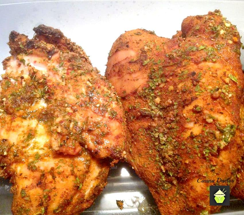 BBQ Bacon Stuffed Chicken. A wonderful flavored piece of chicken, stuffed with bacon and other goodies, and coated in a homemade rub. Perfect for Grilling / BBQ or oven. You choose!