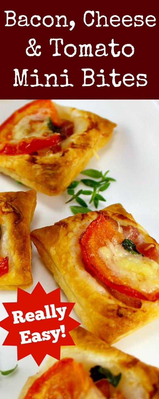 Bacon, Cheese and Tomato Bites. A very quick and easy to make and also flexible with your favorite toppings. Serve as party food, appetizers or a light brunch, lunch boxes.. the sky's the limit! Great for making ahead and freezing.
