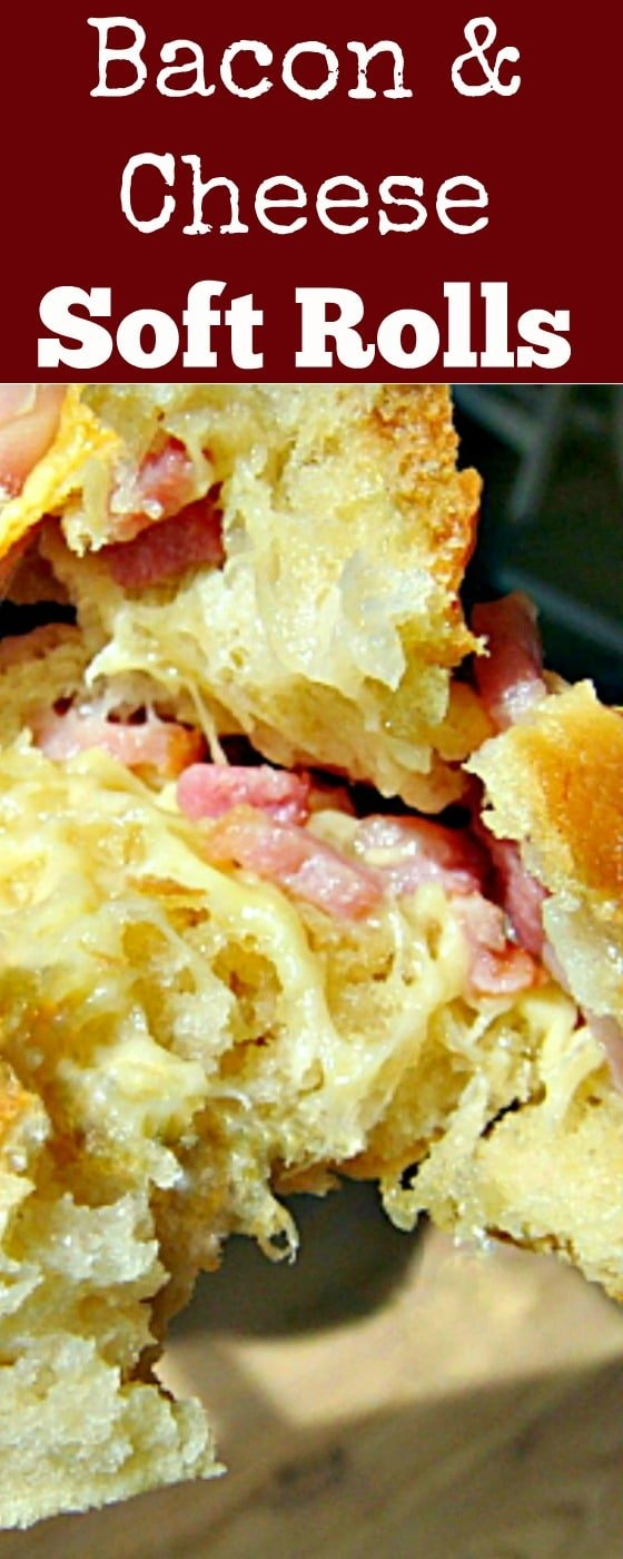Bacon and Cheese Soft Rolls. Super delicious when eaten fresh from the oven when the cheese is melting!