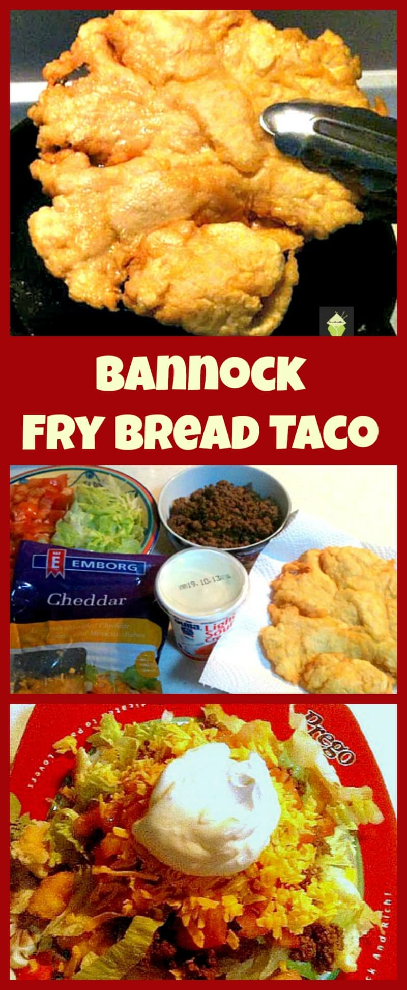 Bannock Fry Bread Taco. Easy recipe and great for parties, game nights etc