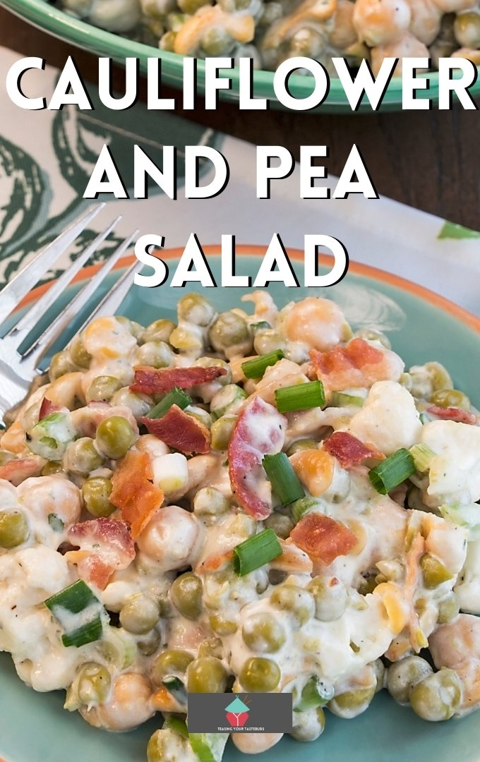 Cauliflower and Pea Salad, a delicious popular creamy salad, ideal for a picnic or side dish to any meal. Very easy recipe with a homemade dressing sauce.