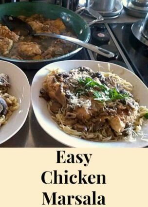 Chicken Marsala on a bed of Angel Hair Pasta!
