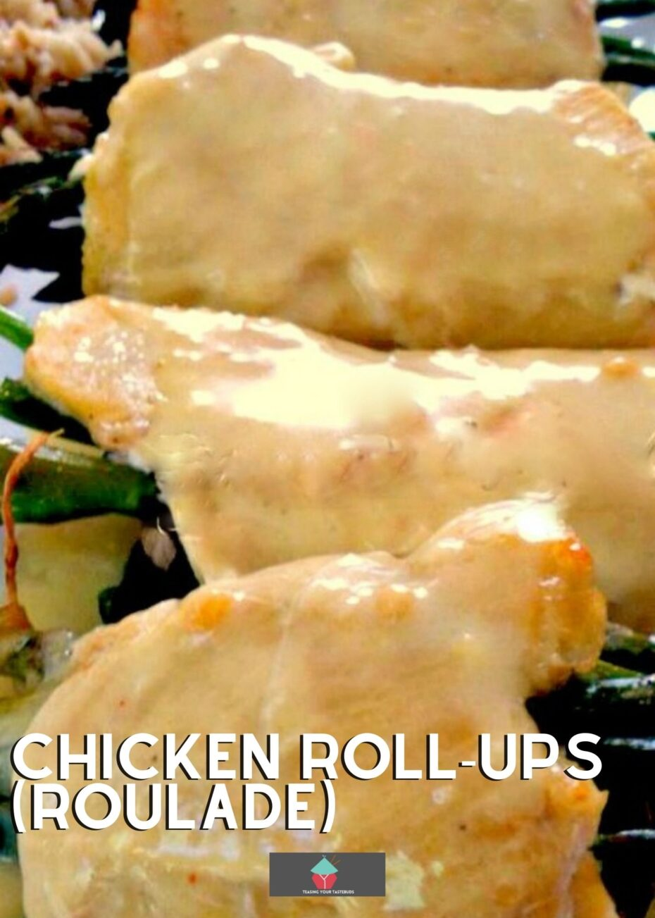 Chicken Roll-Ups (roulade), tender pieces of chicken filled with spinach, asparagus, mushrooms, and cheese then rolled and baked, and served with a creamy Hollandaise sauce and easy mushroom pilaf rice.