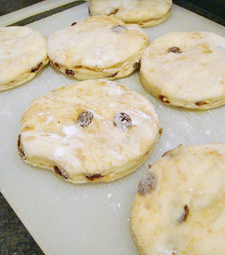 Cinnamon and Raisin English Muffins showing before cooking