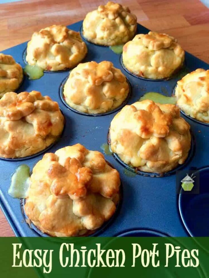 Easy Mini Chicken Pot Pies are delicious little chicken pies in a creamy sauce with a buttery crisp pastry crust. Freezer friendly and great for parties too!