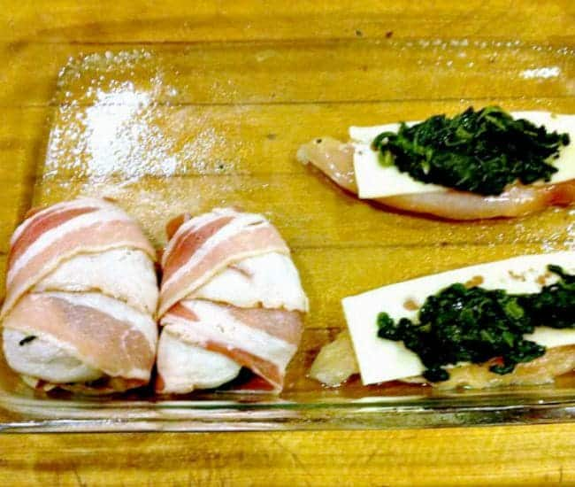 Easy Chicken, Spinach and Cheese Roll Ups, showing how to arrange the filling inside chicken breast before rolling