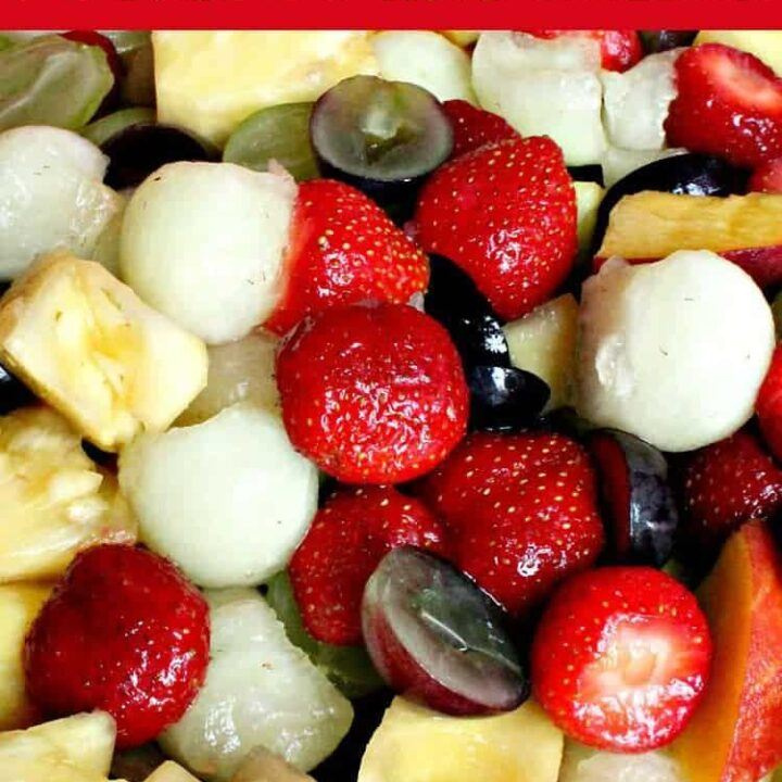 Easy Fresh Fruit Salad, using a wonderful variety of fruits. Optional simple syrup dressing too! Always a hit and perfect if you need to make ahead!