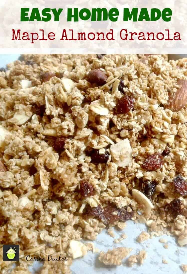 Easy Home Made Maple Almond Granola. A wonderful versatile recipe and of course Home Made is always good! Great for using in desserts, or as a breakfast.
