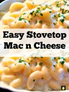 Easy Stovetop Mac n Cheese in 3 simple steps. Perfect for a quick side or main dish.