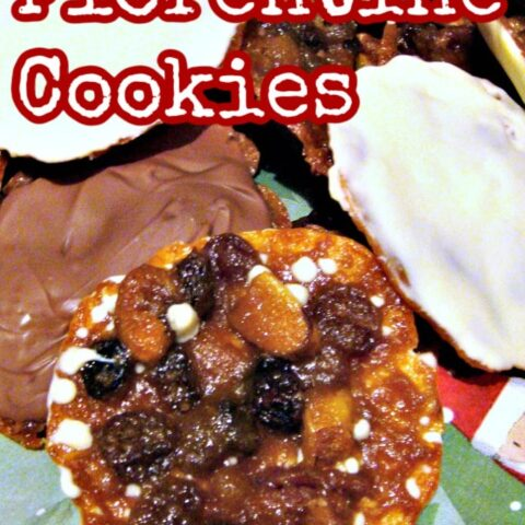 Florentine Cookies. These are a wonderful cookie type treat, with lots of delicious goodies in them, and coated on one side with white or dark or milk chocolate. Easy recipe!
