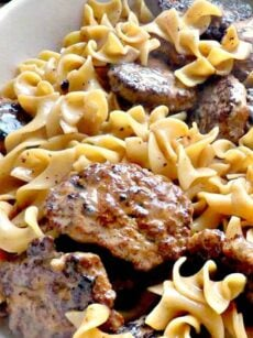 Frikadeller Meat Patties with Sauce. A Delicious popular recipe originating from Denmark with tender ground meat patties and a tasty creamy sauce. Easy, homemade comfort food dinner recipe