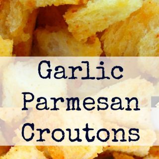 Garlic Parmesan Croutons, delicious crispy croutons, perfect for salads, soups, just in a bowl at parties, oh so many good ways to eat these!