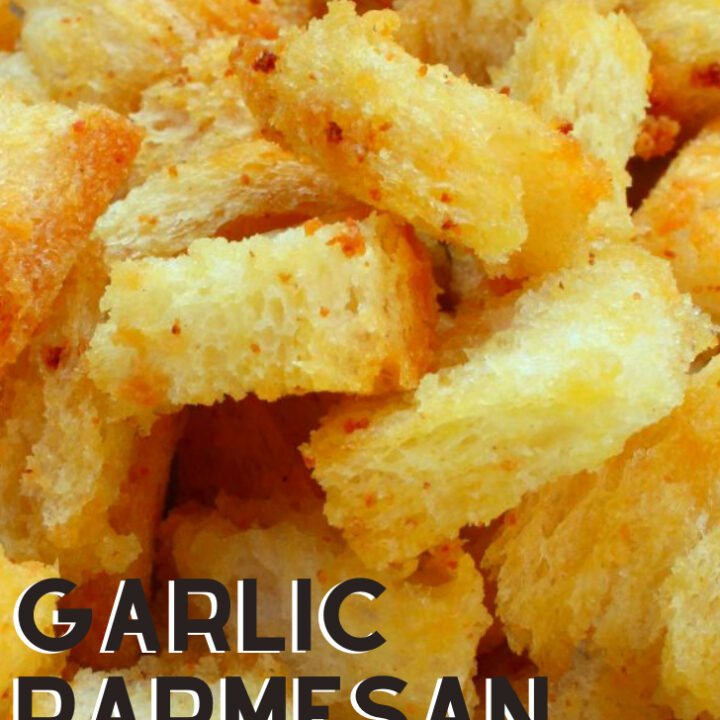 Garlic Parmesan Croutons. Delicious crispy croutons, perfect for salads, soups, just in a bowl at parties, oh so many good ways to eat these!