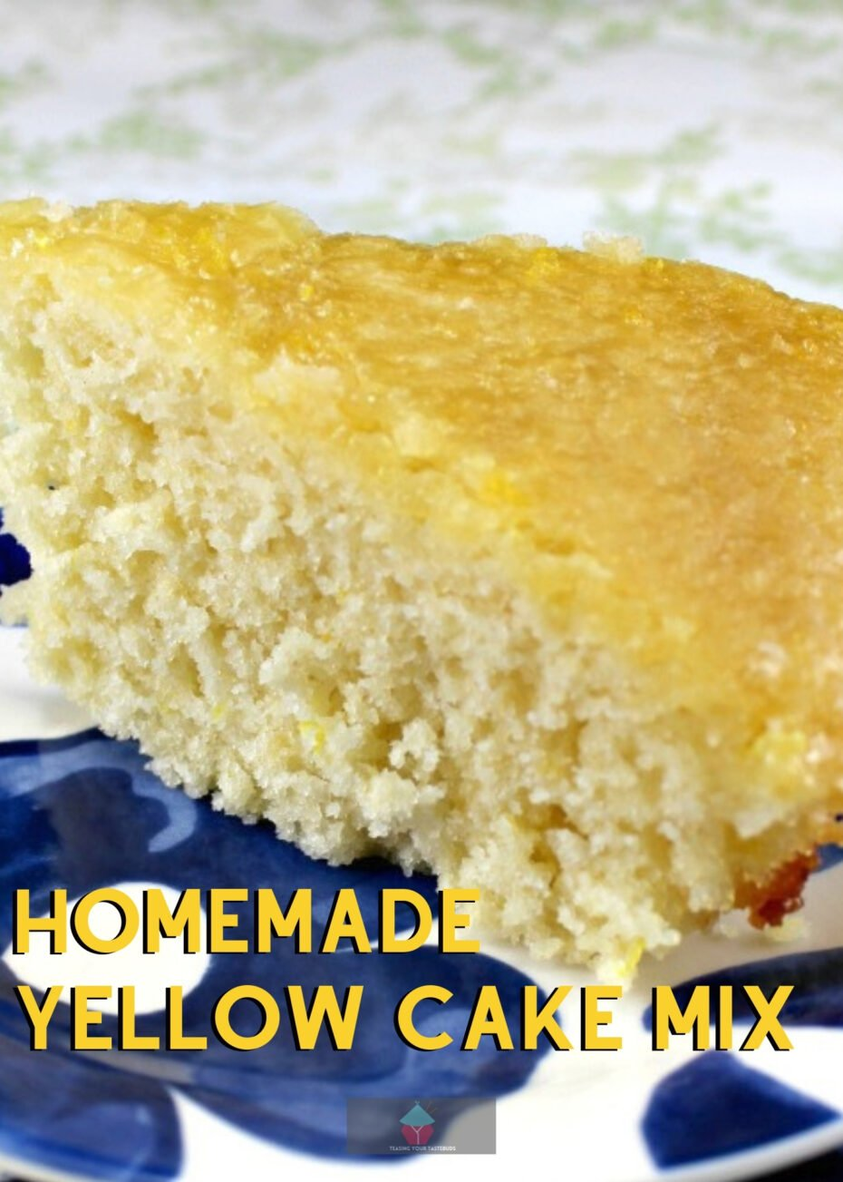 Homemade Yellow Cake Mix, a lovely made from scratch substitute to shop bought cake mixes and gives you a soft, moist cake. Great when a recipe calls for cake box mix.