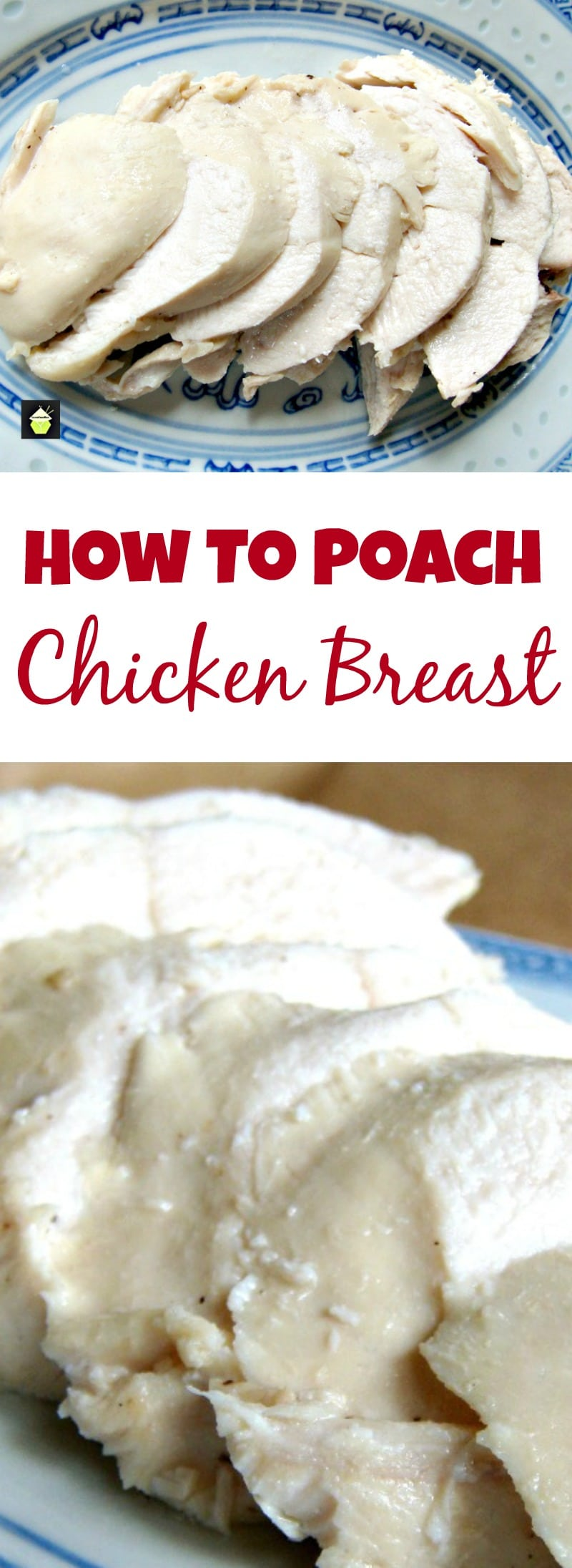 How to Poach Chicken with easy recipe, and the trick to keeping the meat juicy and never dry! Great for using in salads, sandwiches, lunch boxes etc and also a very healthy way to enjoy chicken!