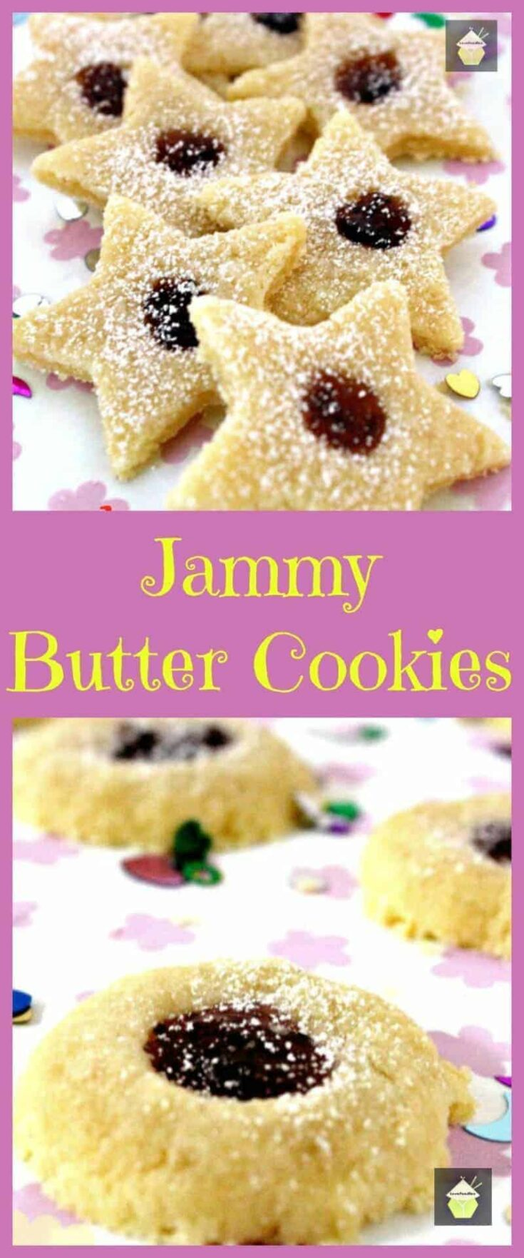 Jammy Butter Cookies. Melt in your mouth Vanilla butter cookies with your favorite jam in the middle. Yummy!