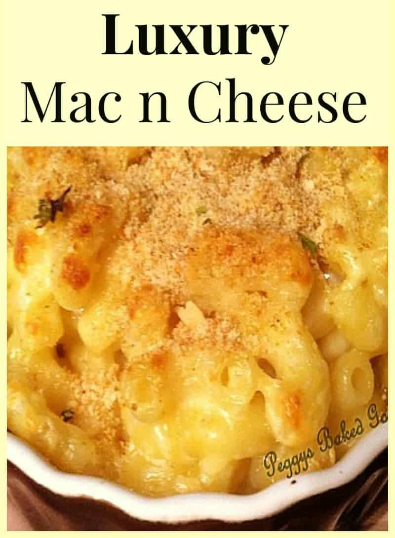 Luxury Mac n Cheese. A delicious baked pasta dish using 5 cheeses. Easy recipe with great flavors and perfect as a main or side dish!