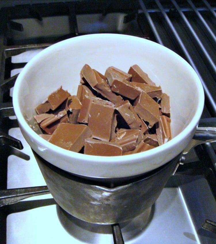 Millionaire's Caramel Shortbread , melting chocolate