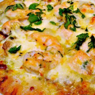 Shrimp, Garlic and Pesto Pizza. The combinations of flavours are absolutely wonderful!