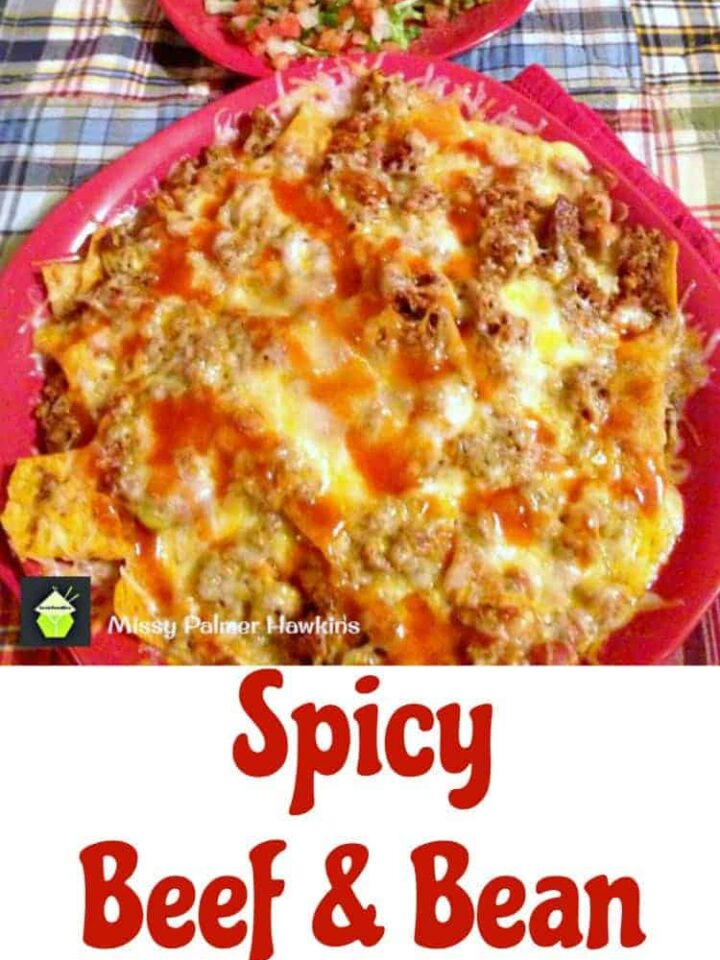 Spicy Beef and Bean Nachos - Always great for a crowd! Also recipes for Guacamole & Pico de Gallo to go with this!