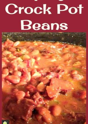 Spicy Crock Pot Beans. You can eat this on it's own or add some delicious left over ham in there. Great easy recipe! Goes really well with some cornbread too!