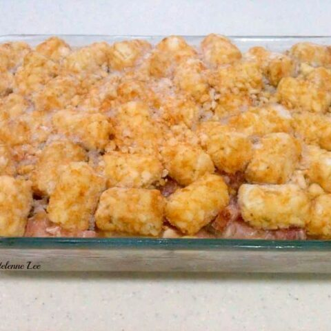 Cheesy Ham and Turkey Tater Tot Casserole. Easy recipe with a delicious flavor!