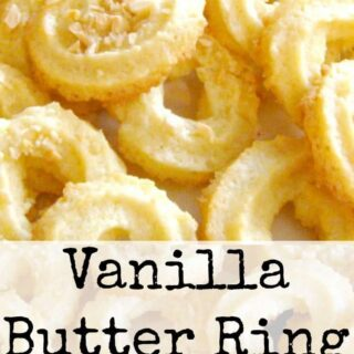 Vanilla Butter Ring Cookies. These little cookies have a wonderful vanilla flavor and melt in your mouth. Easy to make!