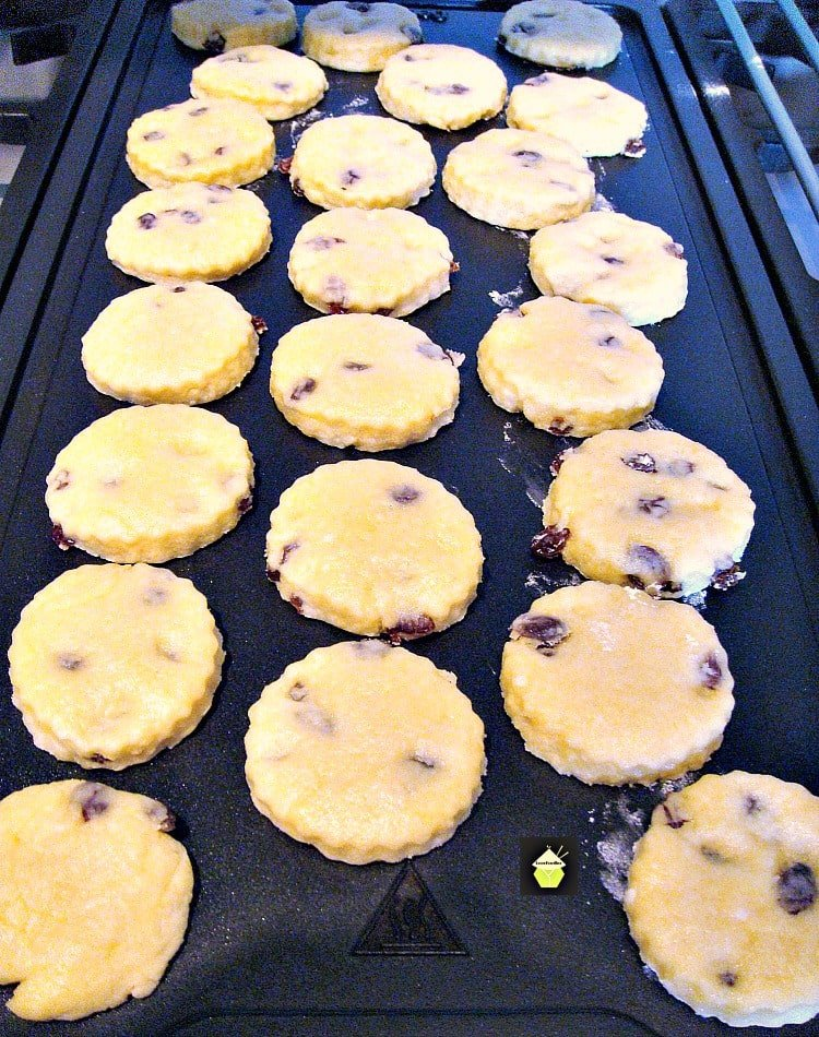 Welsh Cakes  showing cooking on griddle
