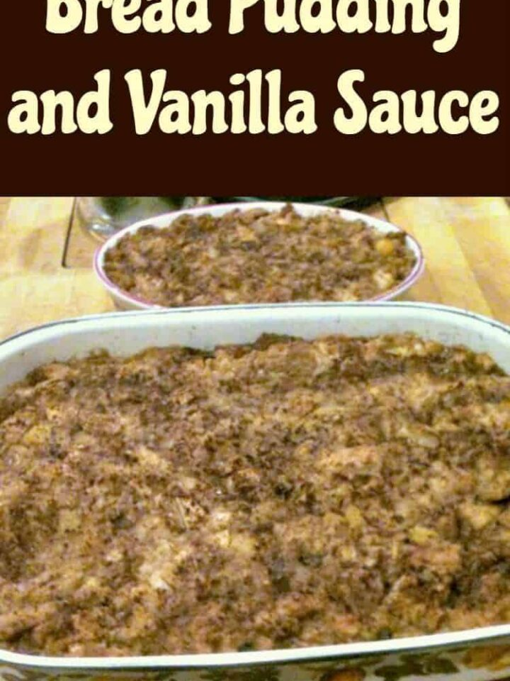 Bread Pudding and Vanilla Sauce is a lovely dessert, filled with peaches, apples and a sprinkling of spices. Served warm with the delicious buttery vanilla sauce and you have one excellent pudding!